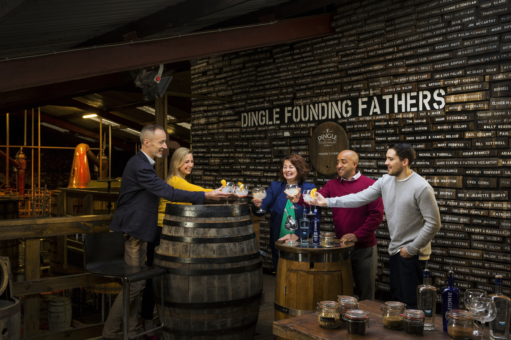 Discover Kerry | Killarney | Group in dinle gin distillery